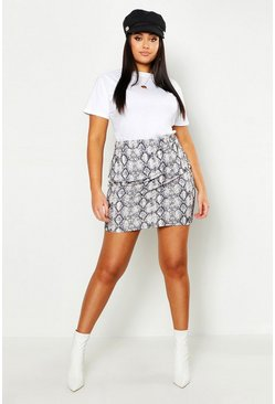 Womens Ecru Plus Snake Print Mini Skirt