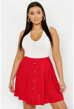 Plus Button Front Ribbed Skater Mini Skirt, Dark red