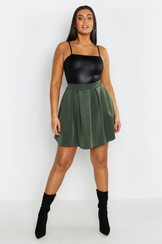 Khaki Plus Scuba Mini Skirt