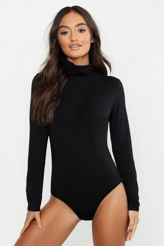 Black Petite Roll Neck Jersey Bodysuit