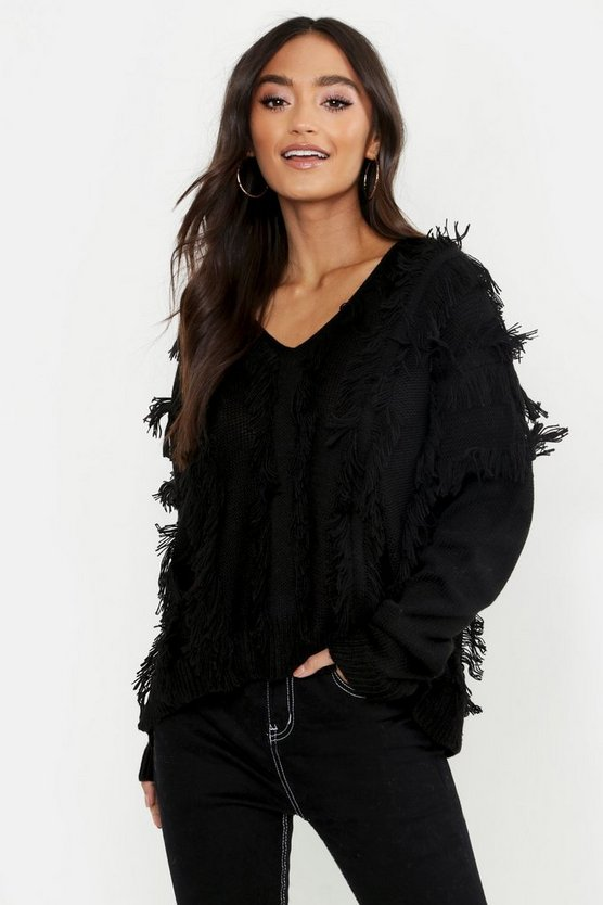 Womens Black Petite Fringe Oversized Sweater