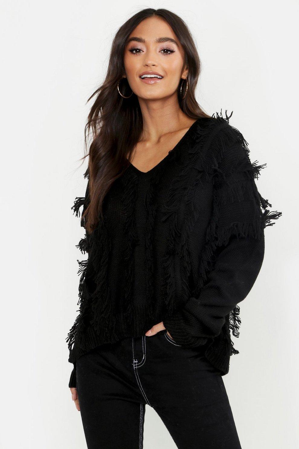 Petite Fringe Oversized Sweater  c4dbb573e