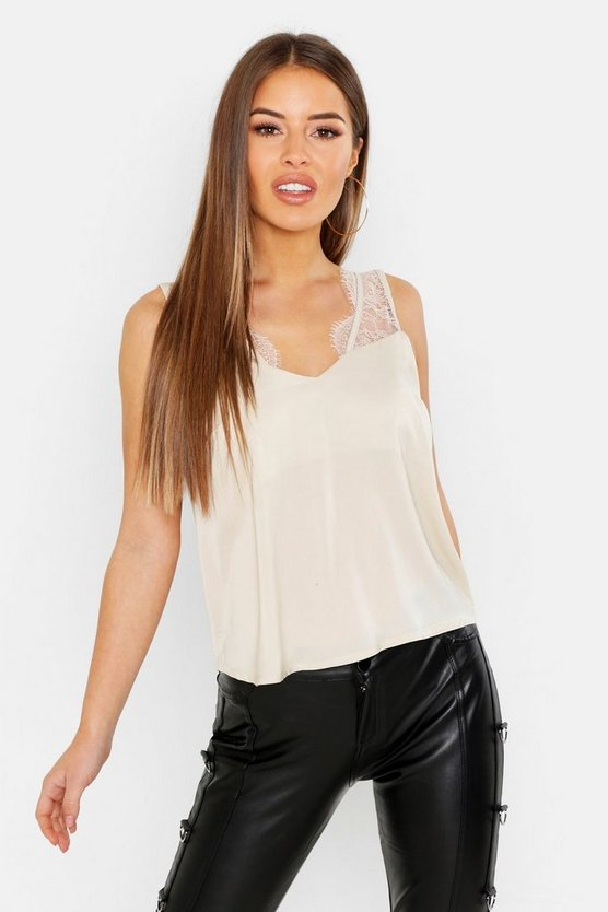 Womens Stone Petite Lace Trim Satin Cami Top