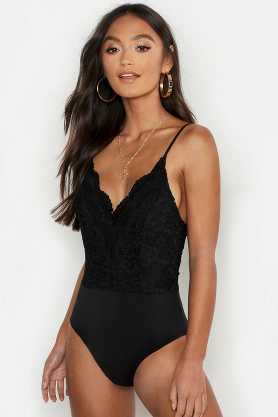 Womens Black Petite Premium Lace Bodysuit