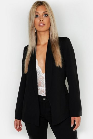 Womens Black Plus Tie Waist Blazer