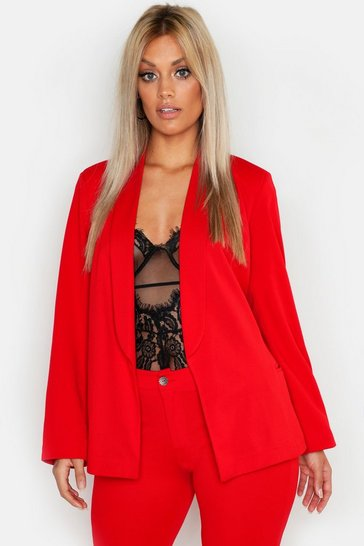 Womens Red Plus Tie Waist Blazer