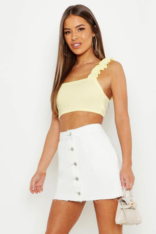 Petite Button Front Contrast Stitch Denim Skirt