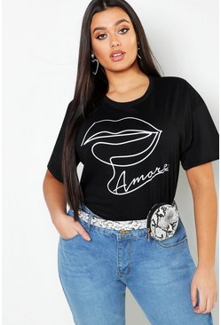 Womens Black Plus Amore Lips Slogan T-Shirt