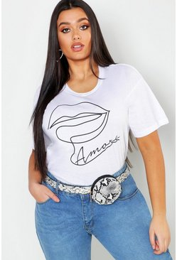 Womens White Plus Amore Lips Slogan T-Shirt