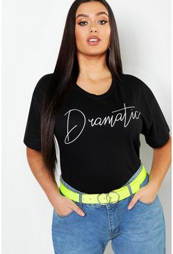 Black Plus Dramatic Slogan T-Shirt