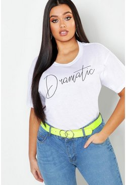 "Dam White Plus - ""Dramatic"" t-shirt med slogan"