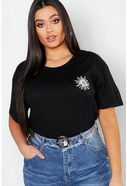 Womens Black Plus Sunshine Pocket Print T-Shirt