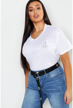 Womens White Plus Cherry Pocket Print T-Shirt