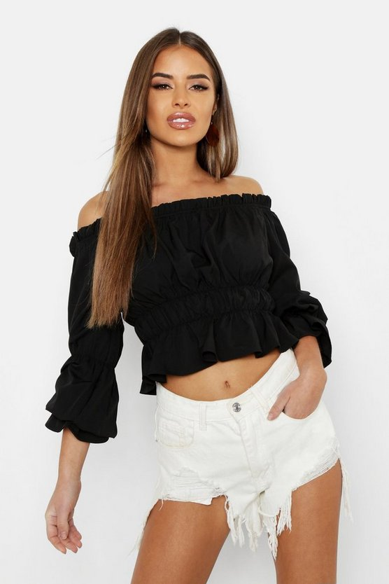 Womens Black Petite Bardot Ruched Crop Top