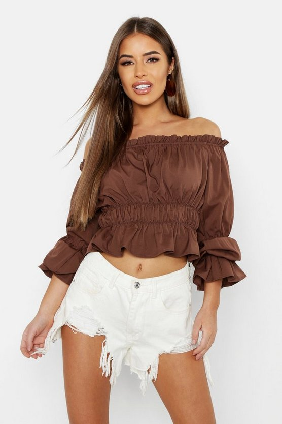 Womens Chocolate Petite Bardot Ruched Crop Top
