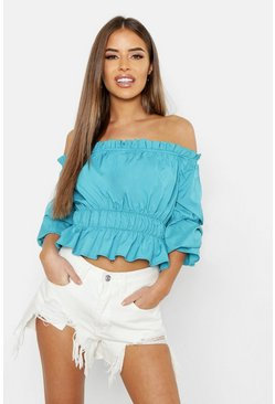 Womens Teal Petite Bardot Ruched Crop Top