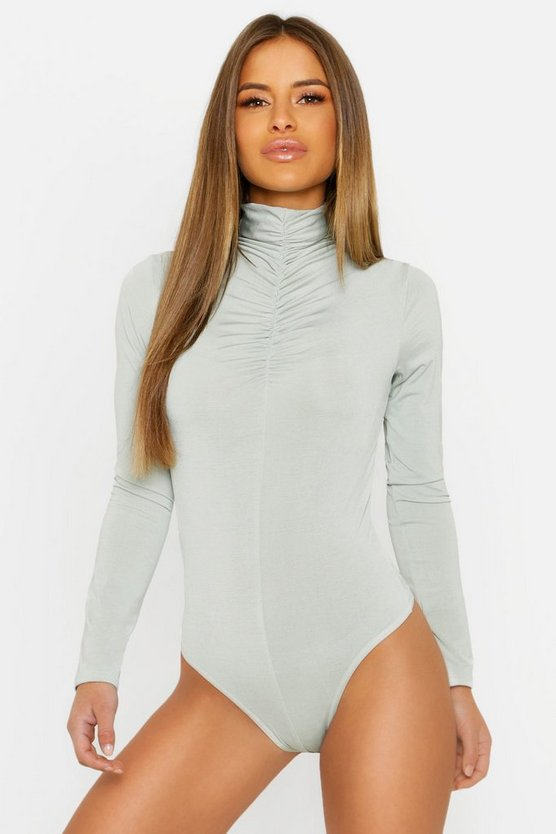 Womens Sage Petite Ruched Neck Turtle Neck Bodysuit