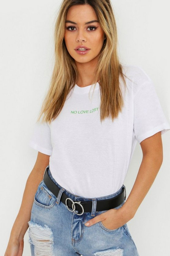 Petite Neon No Love Lost Slogan T-Shirt