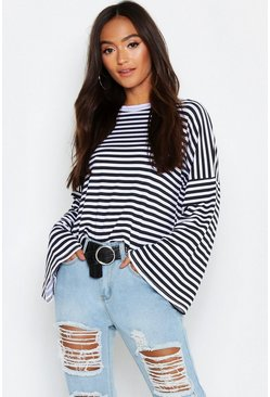 Multi Petite Stripe Wide Sleeve Top