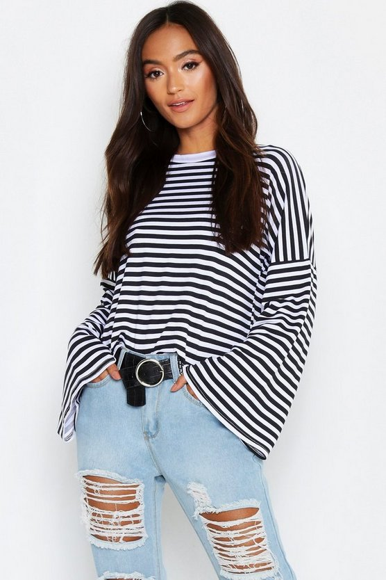 Womens Multi Petite Stripe Wide Sleeve Top