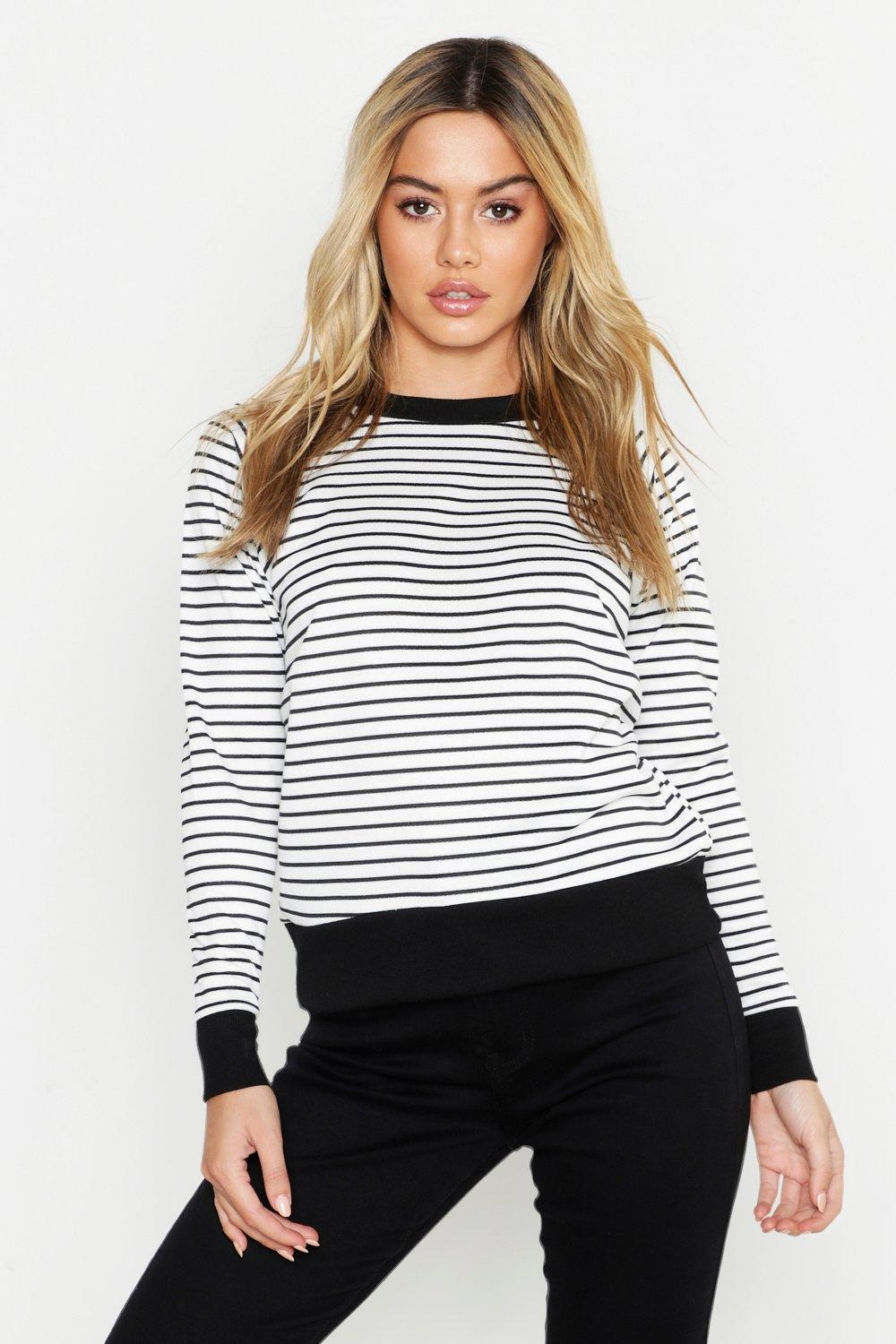 Petite Stripe Sweat Top