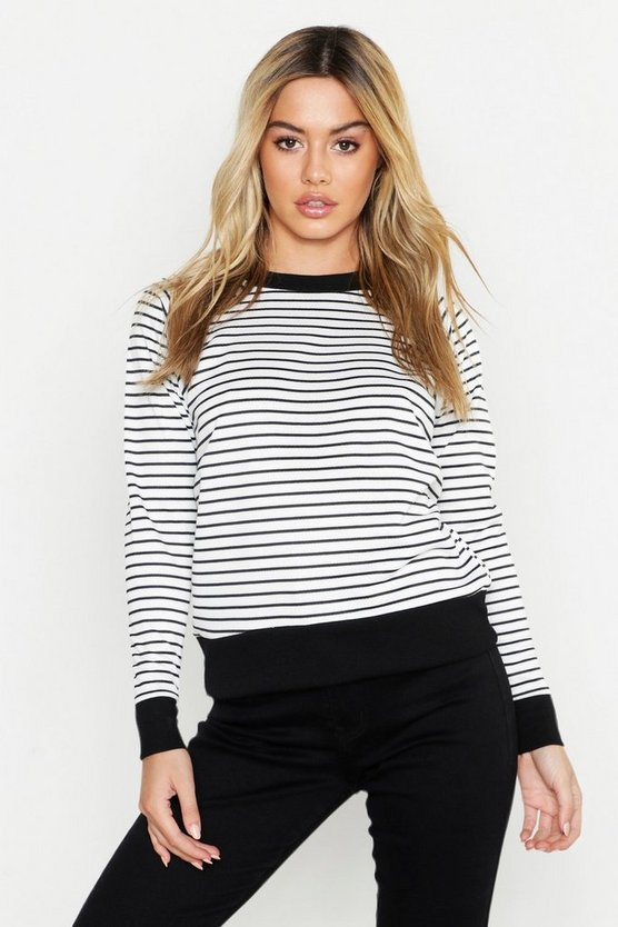 Black Petite Stripe Sweat Top