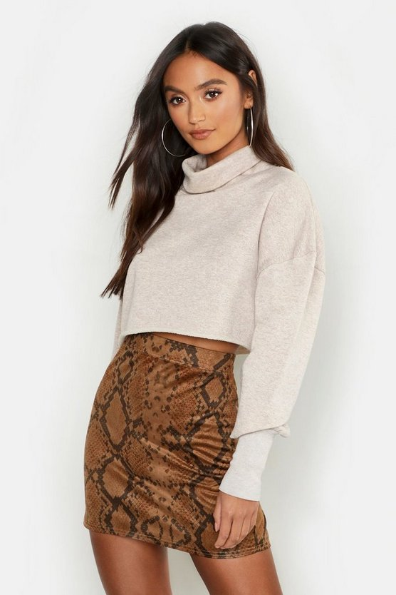 Womens Tan Petite Snake Print Suedette Mini Skirt