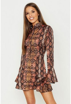 Womens Tan Petite Snake Print Ruffle Hem Shirt Dress