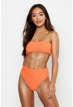 Womens Orange Petite Mix & Match Crinkle High Waist Brief