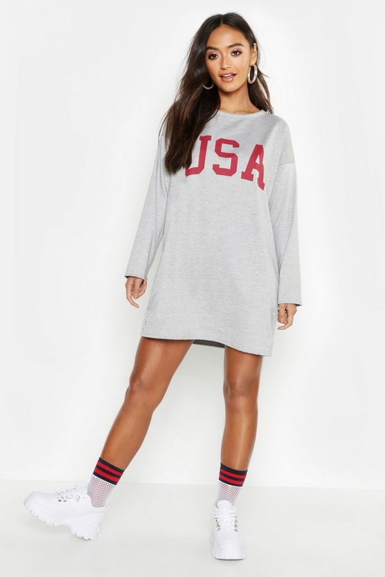 Petite USA Slogan Sweat Dress