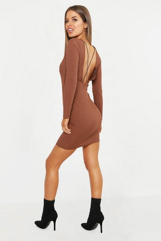 Womens Chocolate Petite Cross Back Detail Rib Bodycon Dress