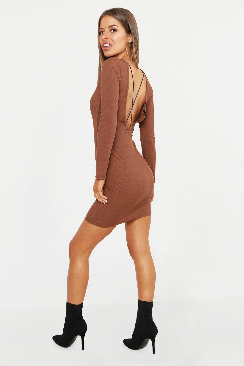 ccbd5bd35b93 Petite abito corto e aderente a coste con dettaglio incrociato sul retro