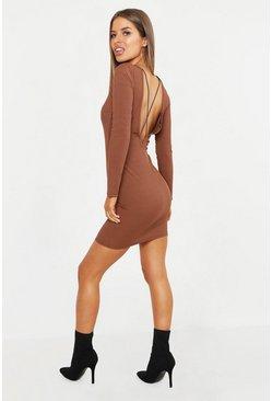 4cafdaeb6149 Petite abito corto e aderente a coste con dettaglio incrociato sul retro