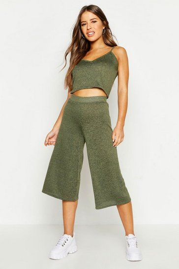 Womens Khaki Petite Knitted Loungewear Set