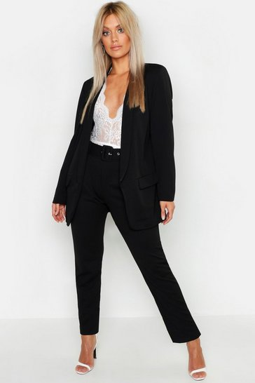 Womens Black Plus Self Belt Tailored Trousers