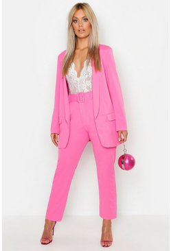 Womens Hot pink Plus Self Belt Tailored Pants