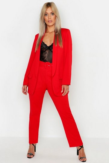Womens Red Plus Self Belt Tailored Trousers
