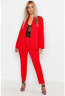 Womens Red Plus Tailored Pants