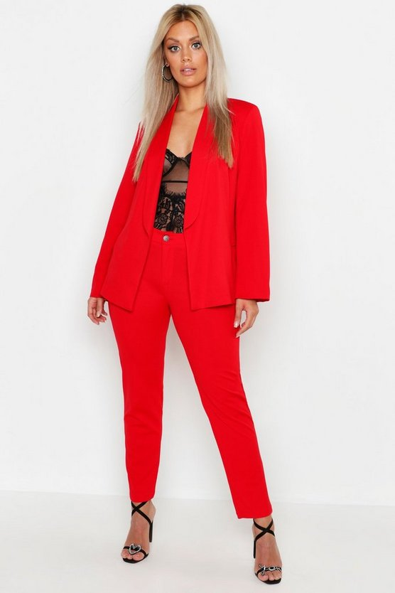 Womens Red Plus Tailored Trouser