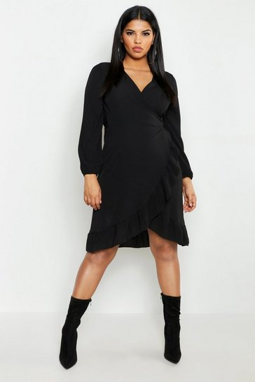 Womens Black Plus Woven Ruffle Wrap Midi Dress