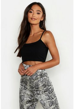 Black Petite Basic Bandage Strappy Crop Top