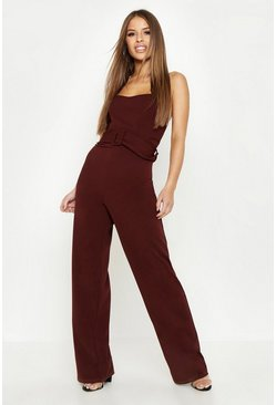 Womens Chocolate Petite Belted Bandeau Jumpsuit