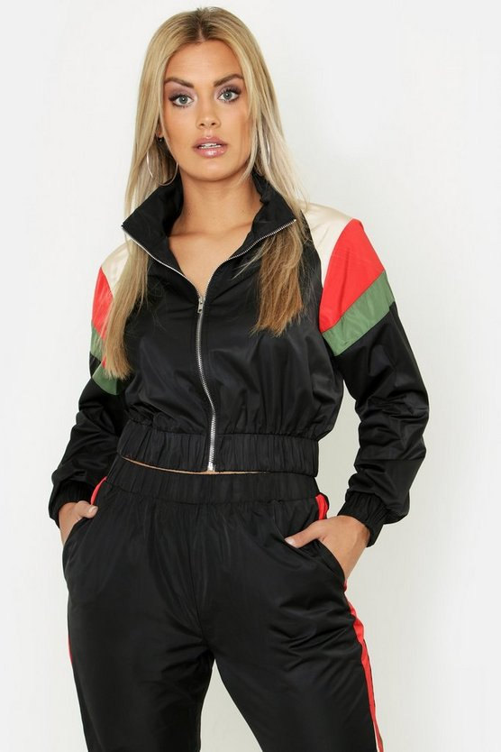 Womens Black Plus Stripe Shell Zip Detail Tracksuit Top