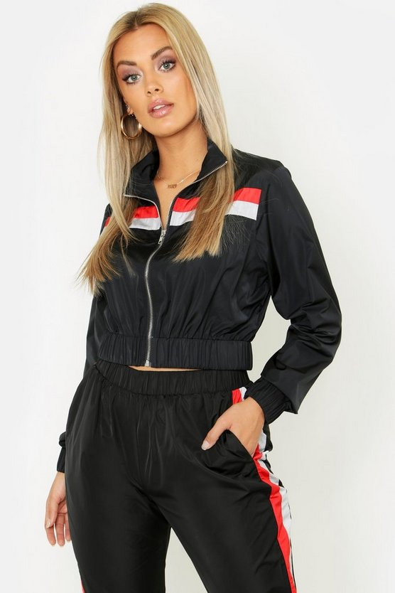 Womens Black Plus Stripe Shell Tracksuit Top