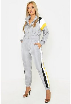Womens Grey Plus Stripe Shell Tracksuit Joggers