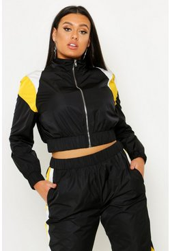 Womens Black Plus Colour Block Zip Detail Tracksuit Top