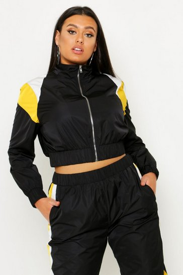 Womens Plus Colour Block Zip Detail Tracksuit Top