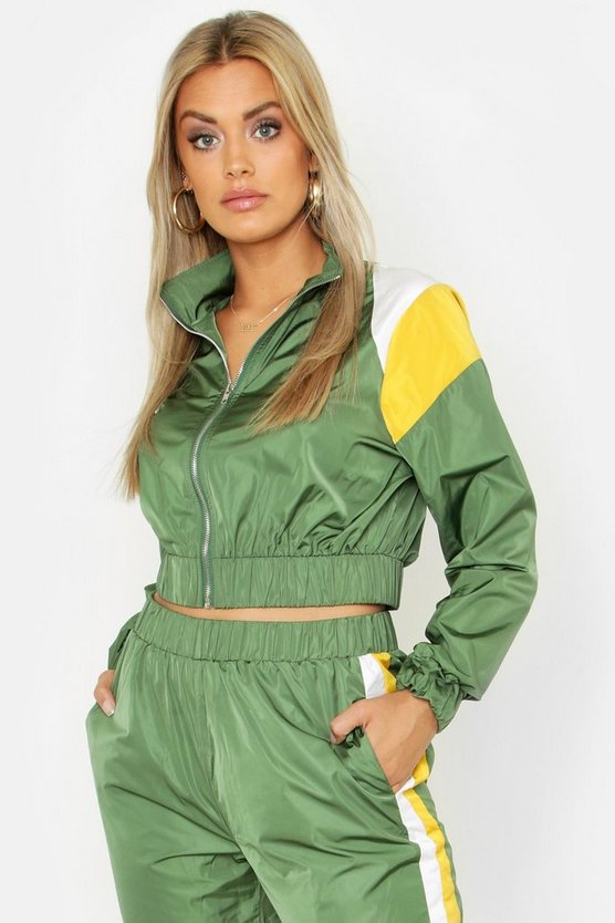Womens Khaki Plus Colour Block Zip Detail Tracksuit Top