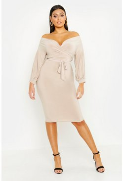Womens Stone Plus Slinky Off Shoulder Midi Dress