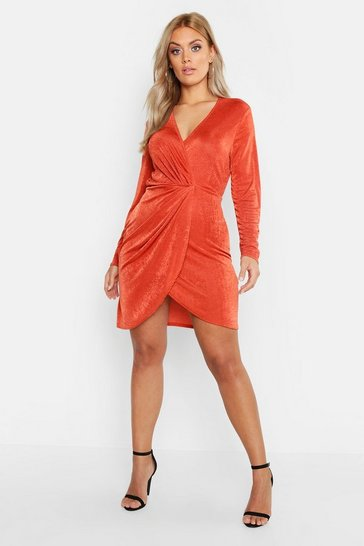 Womens Rust Plus Slinky Knot Front Wrap Dress